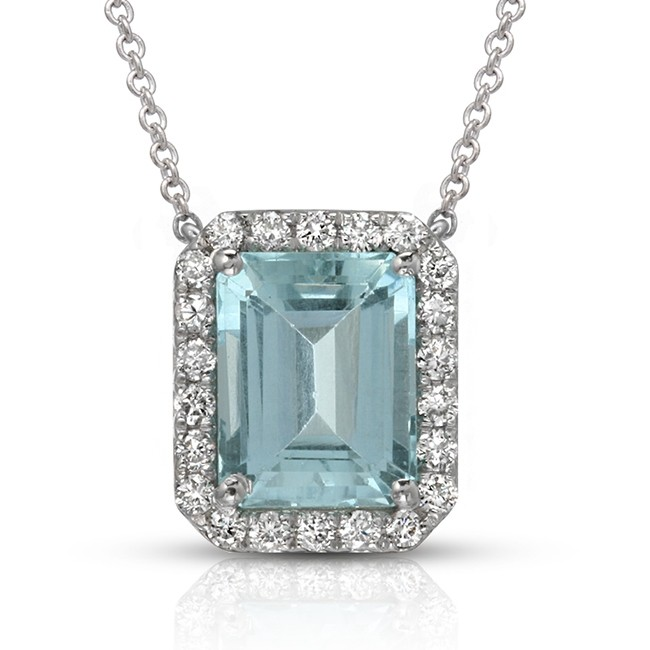 18k aquamarine diamond pendant color stone necklace necklace 18k aquamarine diamond pendant aloadofball Image collections