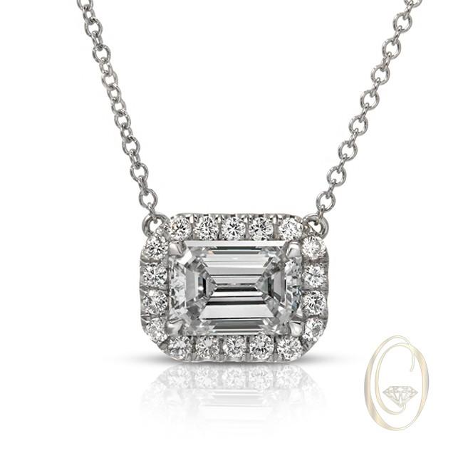 18k emerald cut diamond pendant diamond necklace necklace 18k emerald cut diamond pendant aloadofball Choice Image