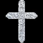 Round Diamonds 0.25 ctw VS2 Clarity, I Color Diamond 14K White Gold Cross Necklace