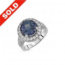 5.50ct ROUND TANZANITE DIAMOND RING