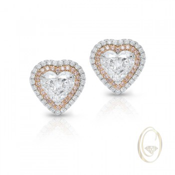 18K HEART-SHAPE DIAMOND EARRINGS