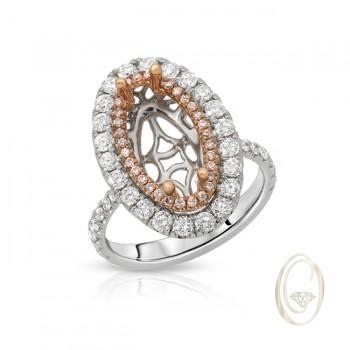 18K TWO-TONE DIAMOND SEMI-MOUNT RING WITH PINK DIAMONDS